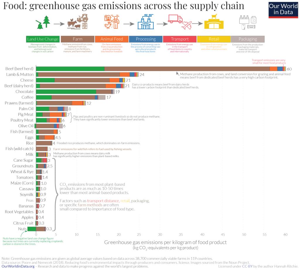 Ślad węglowy produktów spożywczych w przeliczeniu na kilogram produktu